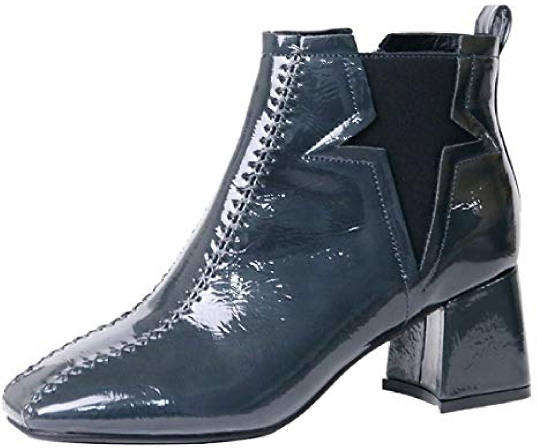 KOKQSX-Tacco Tacco Alto 6cm lacca Zip Moda Breve Stivali Nudo Stivali ma dingxue 35 Coloreee Blu | Eccellente  Qualità  | Uomo/Donne Scarpa