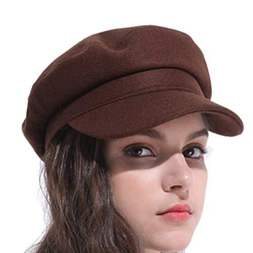 Unbekannt Hüte Hut weiblicher Herbst- und Wintermode Marinekappenmütze Baret achteckiger Hutgeschenk-Winterhut (Color : Brown, Size : 56cm)