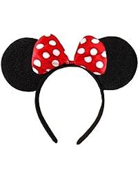 Lunares en blanco y negro con lazo rojo Minnie Mouse Disney Disfraces Orejas Cabeza Banda