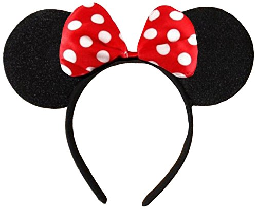 Rot (Minnie Mouse Alice Ears)Ohren Schwarz mit Rot -