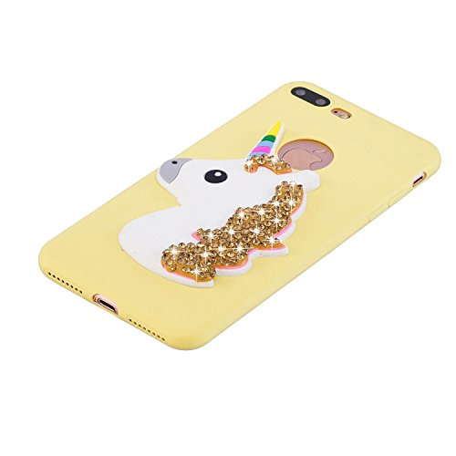Coque iPhone 7 Plus , Coque iPhone 8 Plus Etui Housse Bling Glitter Strass Licone Motif Case Cover en Silicone Gel TPU Flexible Souple Housse de Protection pour Apple iPhone 7 Plus / iPhone 8 Plus (5. Jaune