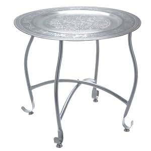 tischchen beistelltisch mit abnehmbaren tablett aus metall h he 36cm k che haushalt. Black Bedroom Furniture Sets. Home Design Ideas