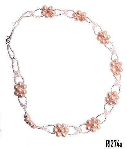 Enez Echt Süßwasser Zucht Perlen Perlenkette Halskette 46cm Collier R1274a