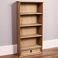 Vida Designs Corona Bookcase, 1 Drawer, DVD/CD Rack, Solid Pine Wood