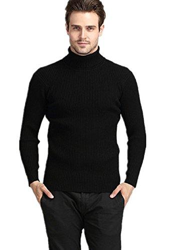 BOMOVO Herren Dickes Rollkragen Strickpullover Pullover Sweatshirts Slim Fit Einfarbig Schwarz