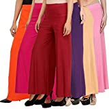 Pixie Stylish Women's Casual Wear Malai Lycra Pant Palazzo Combo (Pack of 6) - Free Size