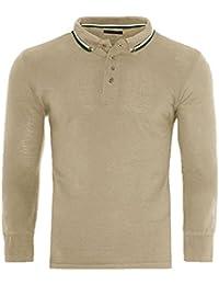 9dd3f860e204 Brave Soul Mens Lincoln Cotton Polo T Shirt Long Sleeve Pique Casual Golf  Top