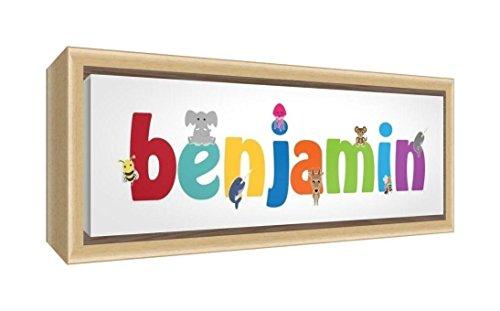 Feel Good Art gerahmt Box Leinwand, die Solide natur Holz Surround in Cute illustrativen Design Boy 's Name (19x 46x 3cm, klein, (Ideen Bild Baby Newborn)