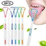 AIM Cloudbed - Confezione da 6 raschietti per lingua, design ergonomico, impugnatura antiscivolo, pulisci lingua, alito fresco per la cura orale facile da usare