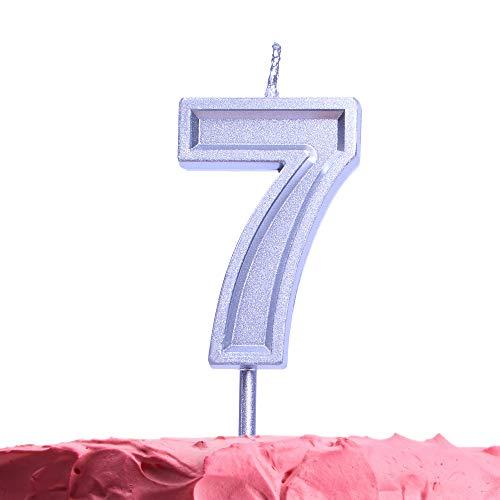GET FRESH Velas de cumpleaños de 7 años, Velas Plateadas, números de Vela, Vela de cumpleaños de 7 años, decoración de Tarta de cumpleaños, decoración de Aniversario, Boda, Fiesta, Suministros