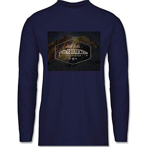 Shirtracer Wintersport - Retro Design Berge - Herren Langarmshirt Navy Blau