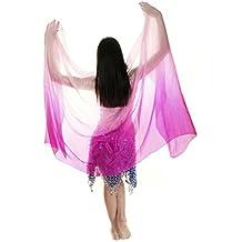 Turkish Emporium Danza del Vientre teñidos a mano seda velo para bailarinas del vientre (Fucsia/Rosa)