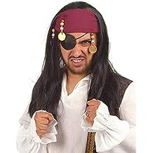 Pirat Piraten Freibäuter Seeräuber Perücke Langhaar Herren Kostüm Piratenperücke