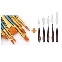 AOOK artist painting brush senior hair artist flat dot brush set, watercolor acrylic oil painting supplies