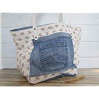 Sac à main fait main,Sac à main patchwork, sac cabas en coton et jeans recyclé - 30 x 44 x 20 cm, Cadeaux, anniversaire, Noël, maman, voyage