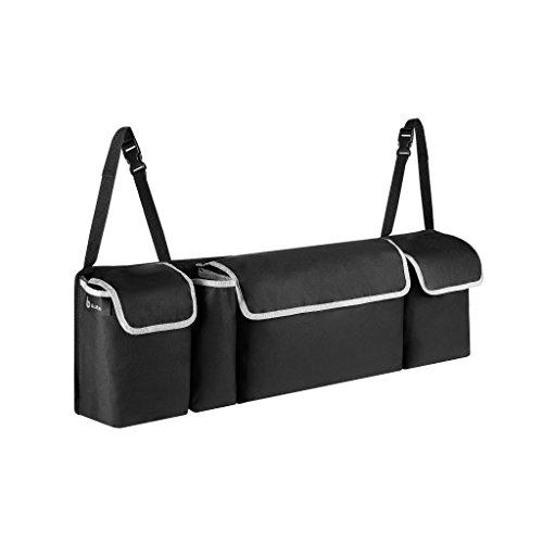 Kofferraum Organizer, Schwarz, Oxford 600 D Gewebe, Kofferraumtasche mit 3 verschließbaren Klett Taschen und 1 Flaschenhalter, Abwaschbar, B*H*T: 90cm*25cm*12cm