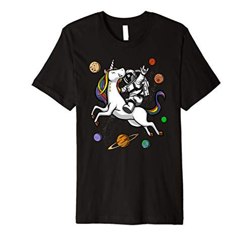 Astronaut Reitet Auf Einhorn Weltraum Jungen Mädchen T-Shirt (Einhorn Reitet Mädchen)