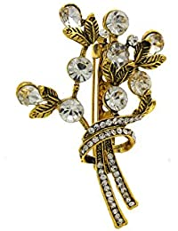 Anuradha Art Gold Finish Classy Designer Delicate Styled With Sparkling Stone Traditional Brooch/Pin For Women...