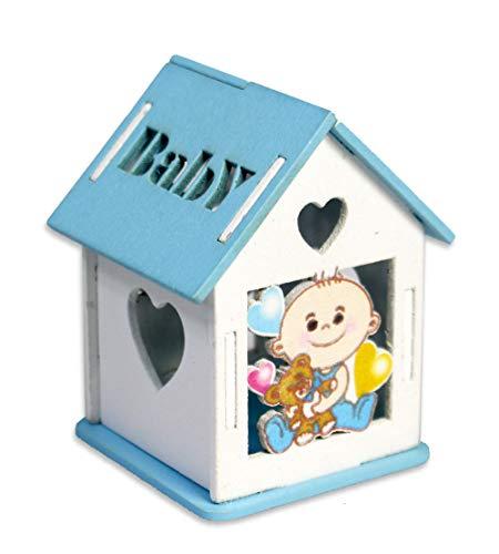 Vetrineinrete® scatoline portaconfetti 36 pezzi a forma di casetta con tetto apribile per confetti scatole decorate con neonato e incisione a cuore bomboniere per nascita battesimo p19