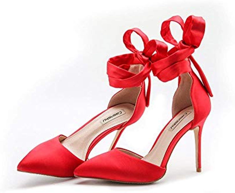 0860d8108d0f Eeayyygch Chaussures 10cm 10cm 10cm Été Rouge Satin De Soie  De Sangles À Talons Hauts De Mariage, Header Vide s Sauvages.