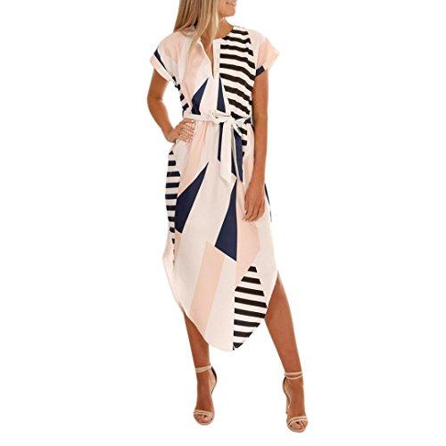 Hirolan Damen Maxikleid Mit Gürtel Freizeitkleid Beiläufig Kurzarm Shirtkleider V-Ausschnitt Strandkleid Splice Geometrische Unregelmäßige Print Kleid Partykleider Cocktailkleid (L, Weiß)