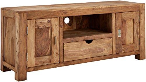 WOLF MÖBEL Massivholz TV-Lowboard mit 2 Türen und 1 Schublade aus Shisham Yoga