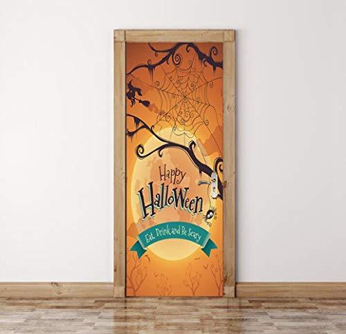 QTXINGMU Happy Halloween Scary Horror Poster Tür Aufkleber Malerei Wallpaper Wandaufkleber Partei Schlafzimmer Home Decor Geschenke
