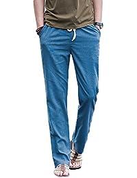 Elonglin Homme Pantalon en Lin de Loisirs Respirant avec Poches Taille Elastique Cordon de Serrage