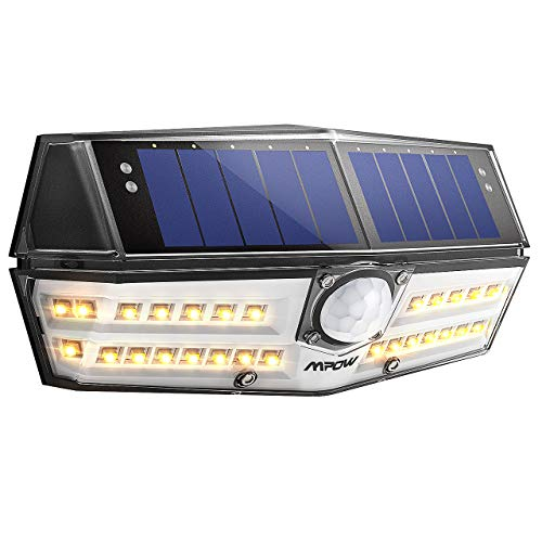 Solarlampe für Außen【NEUE VERSION】Mpow 30 LED Warmweiß Solarleuchte mit Bewegungsmelder IP65 Wasserdicht, SunPower Solarlicht 120 ° Weitwinkel Solarlampe Wandleuchte für Garten, Auffahrt, Hof, Garage