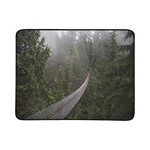WYYWCY Areial-Ansicht der Hängebrücke-Muster-tragbare und Faltbare Deckenmatte 60x78 Zoll-handliche Matte für kampierenden Picknick-Strand - Entdecken Kanada
