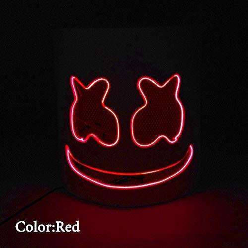Marshmallow DJ Headpiece, Halloween Glow Maske LED Glow Cotton Candy Kopfschmuck Cosplay Maske Konzert Requisiten, Bar, Elektronische Silbe, Party,Red,VoiceControl