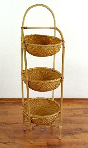 Bambusregale mit Körben, Obstkorb und Gemüsekorb, Aufbewahrungskörbe, Badezimmerregal, Badezimmerkorb, (30x30x100cm)