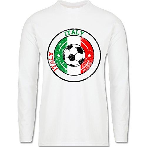 EM 2016 - Frankreich - Italy Kreis & Fußball Vintage - Longsleeve / langärmeliges T-Shirt für Herren Weiß