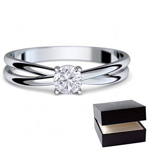 Verlobungsringe Weißgold Ring 333 *** GRATIS LUXUSETUI *** Weißgold Ring 333er von AMOONIC mit Zirkonia Stein Weißgoldring wie Verlobungsring Diamant Ring Diamantring Gold FF386WG333ZIFA56