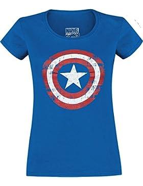 Capitán América Cracked Shield Camiseta Mujer Azul