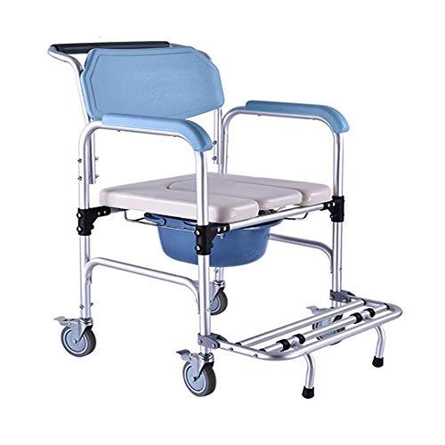 duschstuhl fahrbar D&F Toilettenstuhl, Fahrbarer Duschstuhl, Toilettenrollstuhl, Rollstuhl Mit WC-Eimer, Aluminiumlegierung