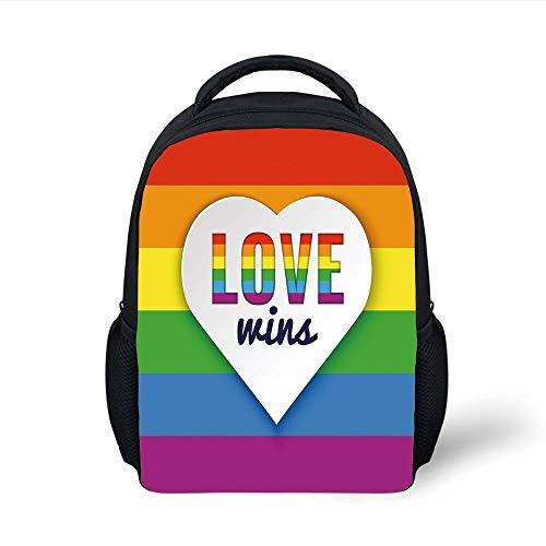 Kids School Backpack Pride Decorations,Rainbow Flag Stripes Heart Symbol Love Wins Text LGBT Culture Colors,Multicolor Plain Bookbag Travel Daypack