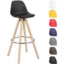 Woltu® # 510 1 x Taburete de bar Juego de 1 Silla de bar de madera y plástico con respaldo silla cocina diseño silla Selección de Colores 1 pieza negro