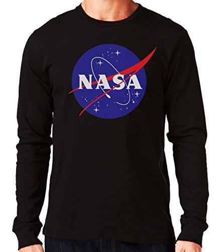 35mm - Camiseta Manga Larga NASA Logo Retro Old School, Hombre, Negra,...