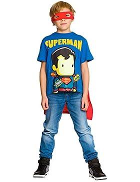Superman Camiseta de con Capa y La Máscara de Ojo de DC Comics de Algodón Azul Rojo
