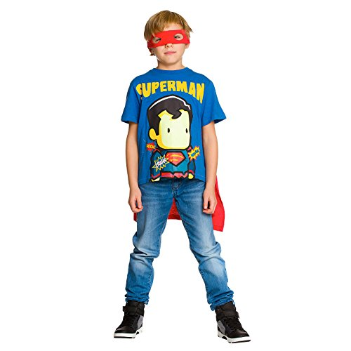 Superman Kinder T-Shirt mit Cape und Augenmaske rot blau - (Superhelden Cape Mit Shirt)