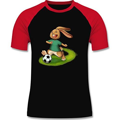 Fußball - Fußball Hase - zweifarbiges Baseballshirt für Männer Schwarz/Rot