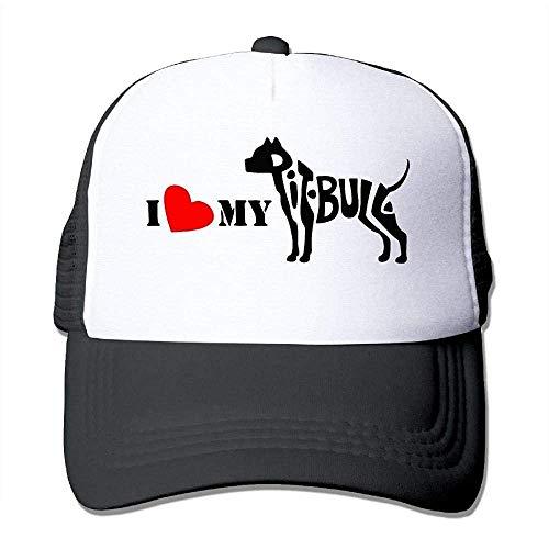 Hoswee Unisex Kappe/Baseballkappe, I Love My Pitbull Men Women Mesh Back Trucker Cap Air Mesh Polyester Cap -