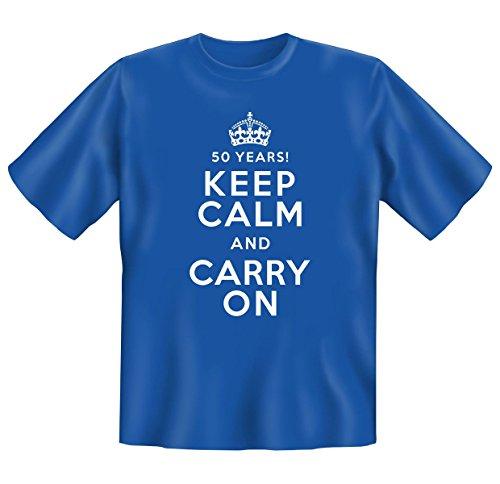 orginelles und witziges T-shirt Set zum Thema : 50. Jahre Geburtstag Farbe: hellblau 50 YEARS KEEP CALM....... Royal-Blau