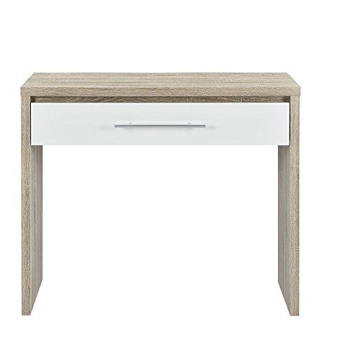 Weiß-eiche Furnier ([en.casa] Schreibtisch (90 x 39 x 77 cm) furniert (Eiche) Schublade (weiß - Hochglanz - Klavierlack) Griff in Edelstahl Optik)