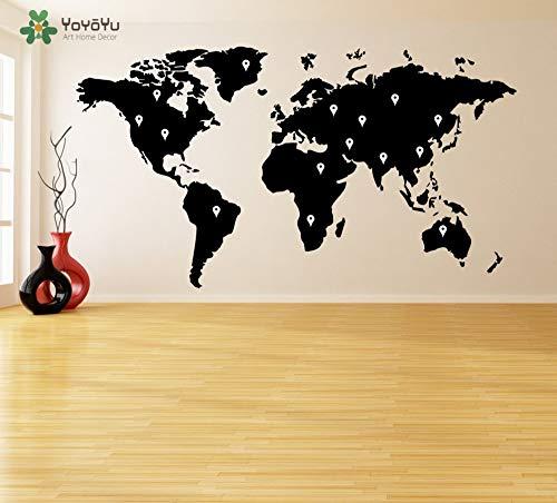 Earth-dots (73 * 40 cm Wandtattoo Vinyl Aufkleber Weltkarte Mit Google Dots Earth Atlas Removable Poster Home Kühlschrank Tür DIY Decor)