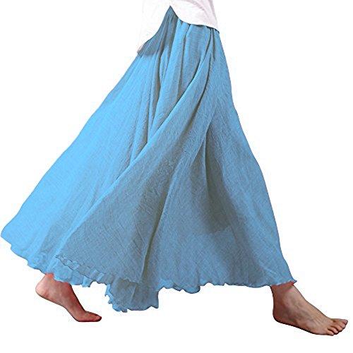 Tomwell Damen Frauen Baumwolle Leinen Double Layer Elastische Taille Langen Langer RockMaxi Rock Hohe Taille Langer Rock Himmelblau 95CM - 1950er Jahre Bleistift-rock