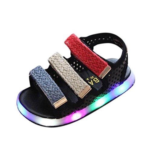 QinMM Kleinkind Kinder Sport Sommer Jungen Mädchen Baby Sandalen LED Leucht Schuhe Turnschuhe Sommer Freizeitschuhe Nette Weiße Rosa Schwarz 20-29 (27 EU, Schwarz)