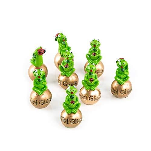 Logbuch-Verlag 8 kleine Frösche 5cm auf Goldener Kugel VIEL GLÜCK Froschkönig Glücksbringer Talisman kleines Geschenk Silvester Neujahr Prüfung Schulbeginn