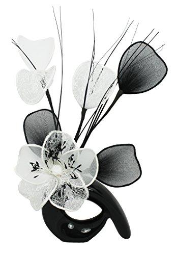 Diseño de flores de QH1 jarrón con blanco diseño de flor negra,...